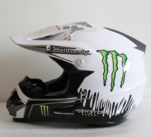 Шлем эндуро, кроссовый Monster Energy, аэрография